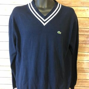 Lacoste V-Neck Sweater Size 5 Large Mens Navy